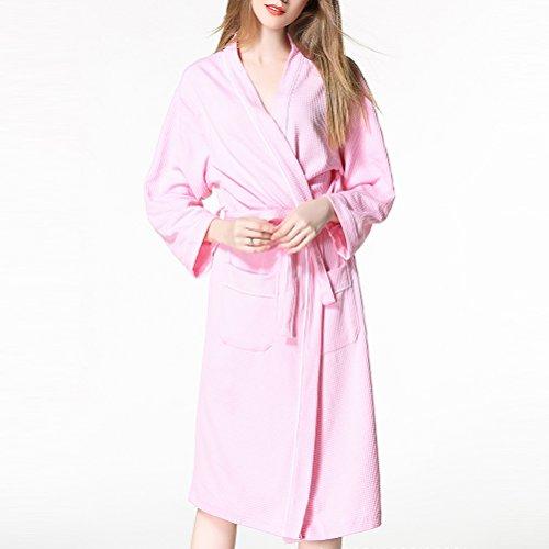 Zhhlaixing Womens Unisex Plus Size Cotton Super Soft Luxury Waffle Robes Vestaglia Housecoat with Belts Nightwear Loungewear Pink
