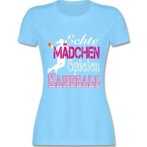 Handball - Echte Mädchen Spielen Handball weiß - S - Hellblau - L191 - Damen Tshirt und Frauen T-Shirt