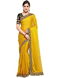 Triveni Faux Georgette Lace Work Party Wear Traditional Sarees With Blouse