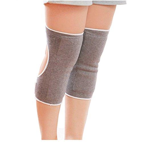 1 paire gris épaissir réglable charbon bambou arthrite style d'ouverture thermique genouillères soutien manche jambe genou hiver chauffe pour la danse arthrite yoga