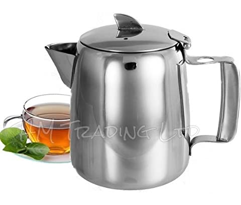 High Quality Stainless Steel Non Drip Spout Teapot Tea Milk Hot Water Coffee Serving Pot Jug Kitchen Tableware (36oz / 1 Litre) by grabit-uk