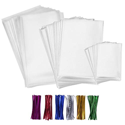 300 bolsas de regalo transparentes gruesas de polipropileno con 6 lazos de colores para regalos de boda, regalos de San Valentín. Tamaño: Tamaño de las bolsas transparentes: 10 cm x 15 cm, 12 cm x 17 cm, 15 cm x 20 cm. Tamaño de los lazos: 10 cm. Col...