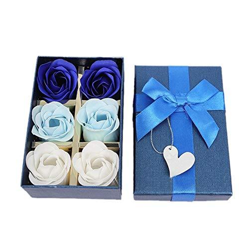 6pcs rose soap flowers artificiale rose flowers in scatola di latta, intrigante fragranza di rose, pretty shape per anniversario di matrimonio san valentino