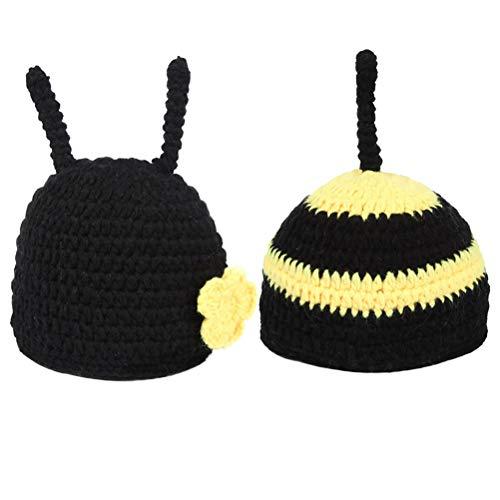 YeahiBaby 2 Stücke Baby Fotografie Kostüm mit Bienen Hut Strickmütze Fotografie Requisiten Kleidung Säugling Neugeborene Fotografie Prop (Biene Kostüme Für Babys)