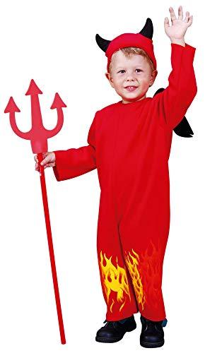 Foxxeo rotes Teufel Kostüm mit Teufelshörnern für Kinder rot Halloween Teufelin Mädchen Jungen Fasching Karneval Größe 98-104