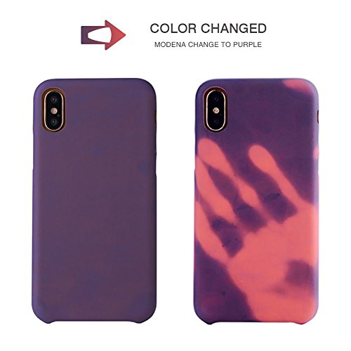 """iPhone X Thermal Sensor Case, VMAE Color Changing Heat-Sensing Case Magical Stylish Color Fluorescent Heat Induction Matte Surface Back Soft TPU Cover for iPhone X 5.8"""" - Modena Change to Purple Modena change to Purple"""
