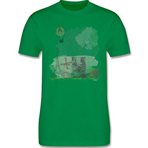 Städte - Paris Wasserfarbe Watercolour - Herren Premium T-Shirt Grün