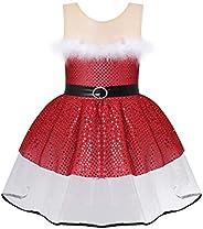 inlzdz Niñas Infántil Vestido Navidad sin Manga de Santa Claus Princesa Chicas (3-14 años) Tul Tutú Ropa Danza