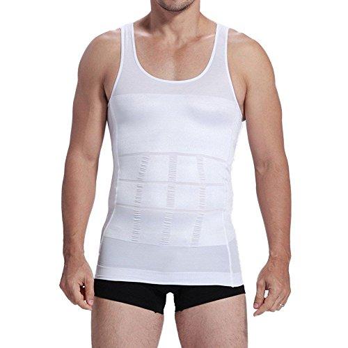 iEFiEL Männer Abnehmen Body Shaper Bauchfett Unterwäsche Bauchweg Weste Körperformer Unterhemd Shirt Kompression (S, Weiß)