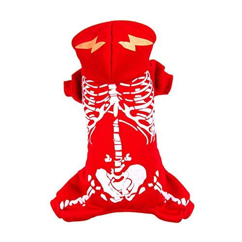 üm Hoodie Hund Kleidung Cartoon Schwarz Skelett Dacron Kostüm Für Haustiere Männer Frauen Nette Cosplay Halloween(L,Red) ()