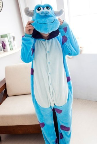 Sulley Adult Men Women Unisex Animal Sleepsuit Kigurumi Cosplay Costume Pajamas Outfit Nonopnd Nightclothes Onesies Halloween Cheap Costume Clothing (M(162CM-171CM)) by COHO (Erwachsene Diy-halloween-kostüm Für Einfache)