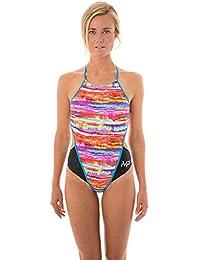 MP Michael Phelps–Domino–Bañador para mujer, color negro y azul, mujer, Domino, negro/azul