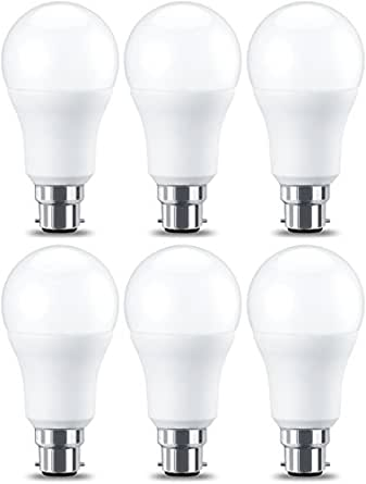 AmazonBasics LED B22 Bayonet Cap Bulb, 10.5W (equivalent to 75W), Warm White, Non Dimmable- Pack of 6