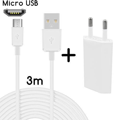 26 Micro USB + bloc d'alimentation Sony Xperia M4 Aqua 3m Weiß + Netzteil