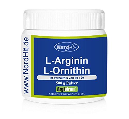 NordHit L-Arginin + L-Ornithin Pulver | Verhältnis 80:20 | 500g Pulver