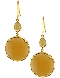 Tribe Amrapali Pretty In Pastels Gold Plated Drop Earrings For Women (Yellow)(FCE18-021)