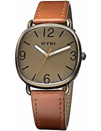 On Time Octus Mens Leather Square Brown Analogue Watches