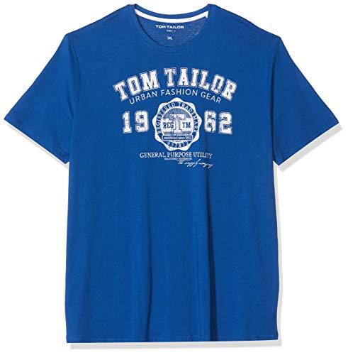TOM TAILOR Men + Herren Logo T-Shirt, Blau (Hockey Blue 19168), XXX-Large -