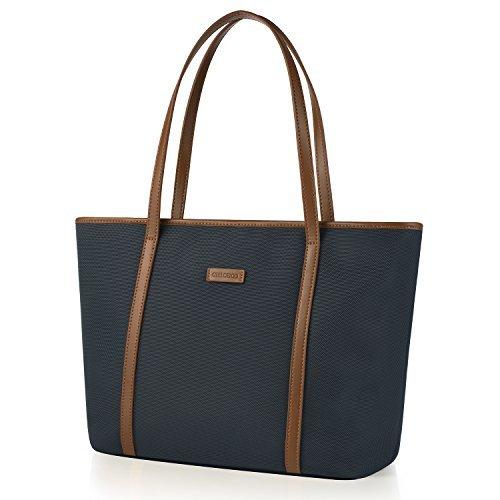 CHICECO Nylon Arbeit Shopper Tasche Handtasche Damen - Blau und Braun (Tasche Handtasche Stoff Damen)