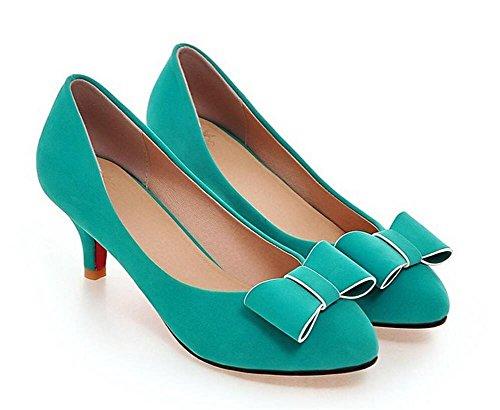DamenschuheFrauen runden Zehe flachen Mund Gericht Schuhe mattiert dünn mit hochhackigen Schleife einfache Blumen Schuhe , green , (Flache Glitter Green Schuhe Erwachsene)