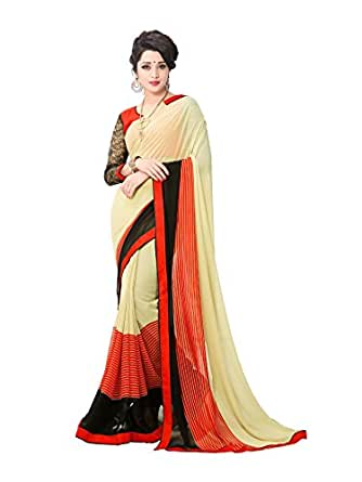 Glory Sarees Women's Georgette Saree With Blouse Piece (Vn21, Beige, Free Size)
