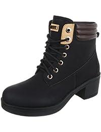 Schnürstiefeletten Damenschuhe Klassischer Stiefel Blockabsatz Schnürer Schnürsenkel Ital-Design Stiefeletten