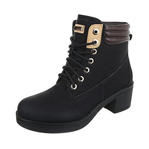 Schnürstiefeletten Damen-Schuhe Klassischer Stiefel Blockabsatz Schnürer Schnürsenkel Ital-Design Stiefeletten Schwarz, Gr 39,
