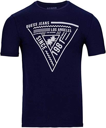 Guess by Marciano Herren T Shirt Logo Shirt Kurzarm Rundhals T-Shirt, Farbe: Dunkelblau, Größe: M