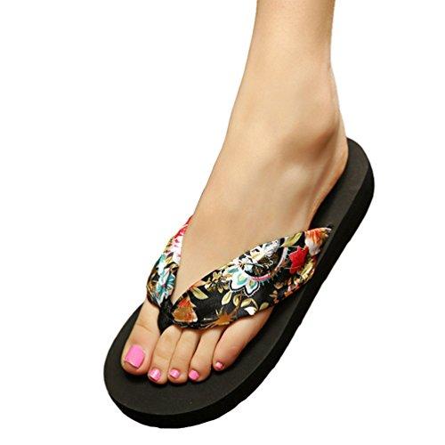 YOUJIA Femmes Tongs été Chaussures de plage Bohême Satiné Plateforme Sandales Noir Or