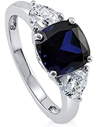 BERRICLE Rhodium Plated Sterling Silver Cushion Cut Cubic Zirconia CZ 3-Stone Engagement Ring