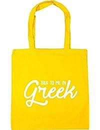 HippoWarehouse Talk to me in Greek Tote Shopping Gym Beach Bag 42cm x38cm, 10 litres