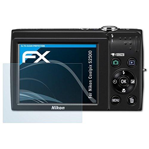 atFoliX Schutzfolie kompatibel mit Nikon Coolpix S2500 Folie, ultraklare FX Displayschutzfolie (3X) (Kamera Nikon S2500)