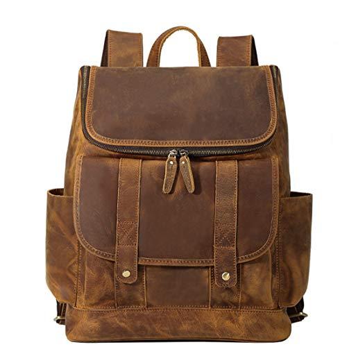 MAGAI Vintage Leder Herren Rucksack große Kapazität 15,6