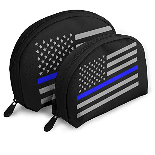 Portable Shell Makeup Storage Bags Thin Blue Line American Flag Travel Waterproof Toiletry Organizer Clutch Pouch for Women - American Zebra Line