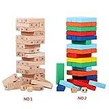 Demino 48pcs / set blocchi di legno numerati i più impilamento Per piccoli prescolare giocattolo educativo di legno blocchi di accatastamento di gioco 1