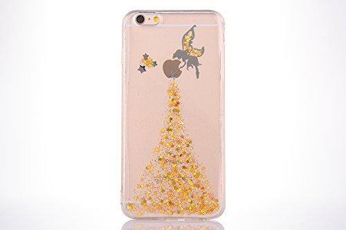 Sycode Case Cover per iPhone 6S Plus,Custodia per iPhone 6 Plus,Lusso Creative Trasparente Glitter Bling Brillante Sparkle Argento Fairy Fata Pattern Progettare Ultra Sottile Flessibile Morbida Silico Fata,Oro