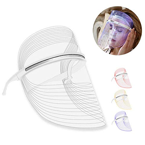 Insense 3 Colors LED Photon Therapy Mask Acne Anti-Wrinkle Face Mask Beauty Skin Care Phototherapy Mask, Using with Liquid, Lotion or Cream(Update) Wrinkle -