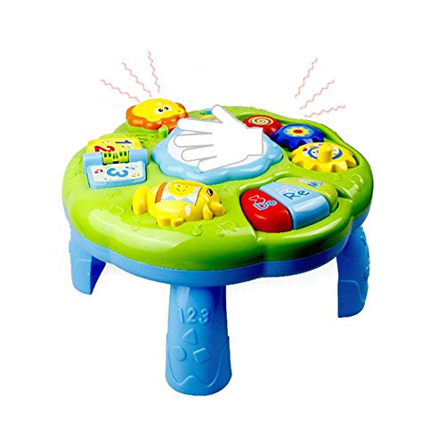 Learning Activity Table Baby Toys Educational Musical Desk Toys with Piano Pat Drum Light Up for Baby Infants