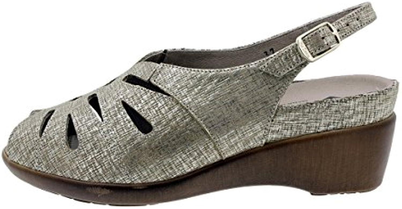 PieSanto Sandalia Plantilla Extraíble Grabado Gris 180154 Zapato Confort