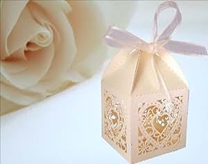 YOYO - 25 Bomboniere per confetti, decorazione a cuore, con fiocco, color avorio