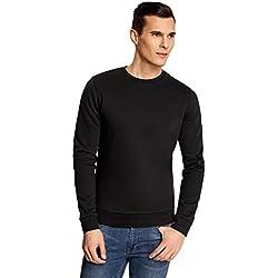 oodji Ultra Hombre Suéter Básico con Cuello Redondo, Negro, ES 44 / XS