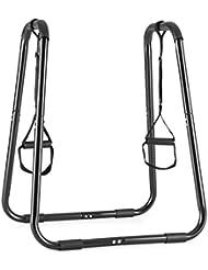 Klarfit Paarafit Paralelas para fondos / dips (Arnés de suspensión regulable, tubos de acero, suave almohadillado confort entrenamiento fitness) - negro