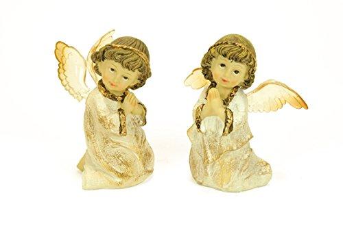 2 Figuras Religiosas Decorativas'Ángeles Rezando'. 9 x 6 x 10 cm
