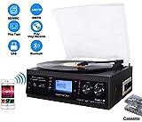 Giradischi Bluetooth con Altoparlante Stereo Integrato, Giradischi in Vinile con Cassetta / Radio / Ingresso Aux / USB e SD / Telecomando Funzione