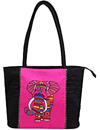 Litercay India Indha Hand Embroidery Work Shoulder Bag/Hand Bag In Dupion Silk For Girls & Women (Black And Pink)