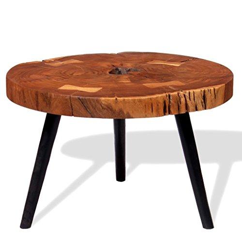 Festnight Table Basse Design Dessus en Bois d'acacia Massif Style Industriel (55-60) x 40 cm