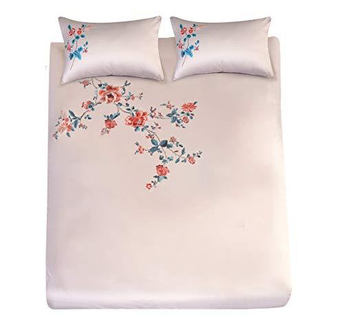Eleanor Fashion Home Luxus Satin Bettbezug Set mit 2 Kissenbezügen, Bestickt, traditionelles Blumen-Bettwäsche-Set, Bettwäsche, 100% Polyester, Super King -