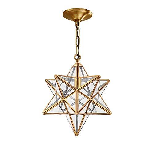 Moravian Star Pendelleuchte mit Klarglasabdeckung, Vintage Kronleuchter Lampe Rustikal Industrial Edison Hängeleuchte Retro Deckenleuchte 1-Light, Brassy (Größe: L) -