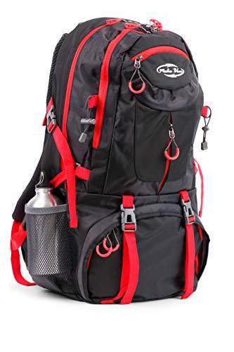 Mediablue 50L Bergsteigen Backpack Outdoor Leicht Rucksack Klettern Wanderrucksack Reise Sport Tagesrucksack Camping Trekkingrucksack Fahrrad (Schwarz, 50 Liter) (Wander-rucksack, 50l)