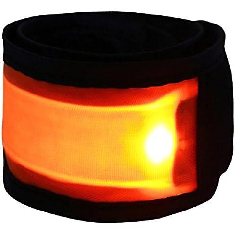 YiZYiF attività all' aperto LED a luce soffusa Wristband Snap Bracciale Slap fascia da braccio per la sicurezza notturna, Orange, Taglia unica